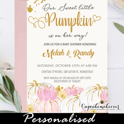 white pink little pumpkin baby shower invitations girl fall ideas
