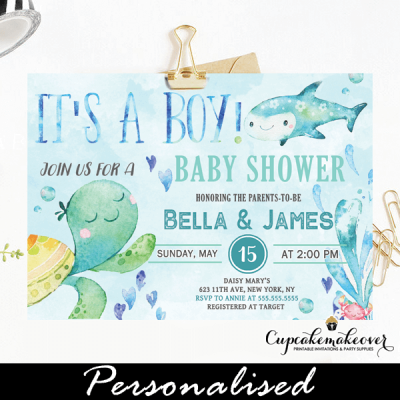 blue ocean under the sea baby shower invites boys theme