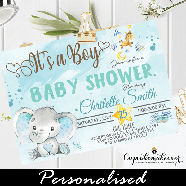 Boy Blue Elephant Baby Shower Invites
