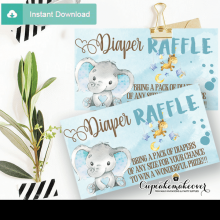 boy blue elephant diaper raffle tickets baby toys theme