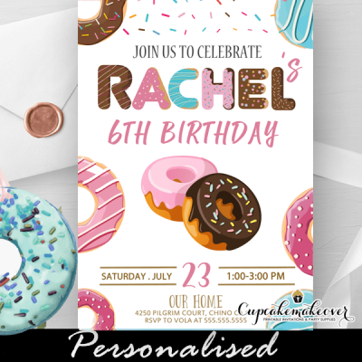 frosted dougnuts birthday invitations