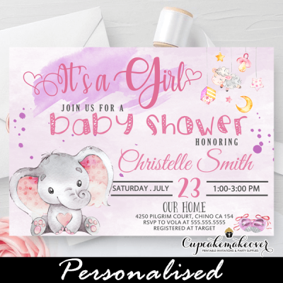 girl pink elephant baby shower invitations toys theme