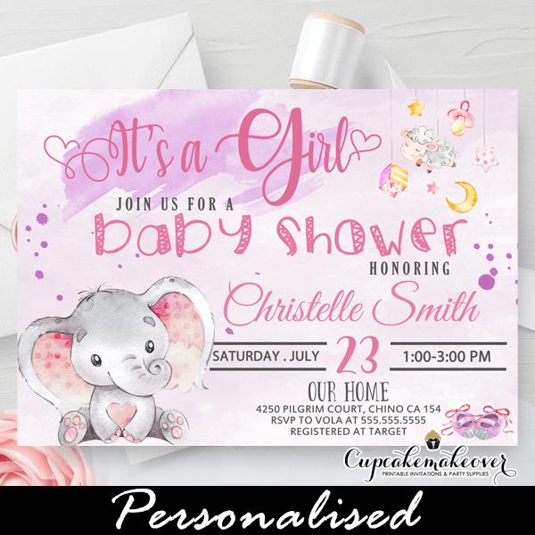 Baby Elephant Invitation Girl Elephant Shower Invite Pink Baby Shower Pink Elephant Invite Pink Elephant Baby Shower Invitation