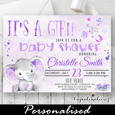 girl purple baby shower invites overhead toys theme