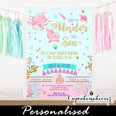 pink gold under the sea baby shower invitations ocean theme ideas
