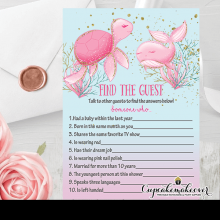 pink ocean under the sea baby shower game find the guest
