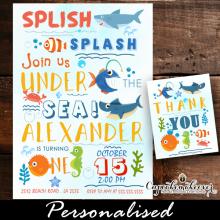 under the sea first birthday invitations cute summer shark