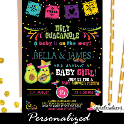 holy guacomole baby shower invitations mexican fiesta theme boys and girls