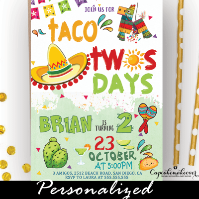 taco twosday invitation boy fiesta birthday mexican theme