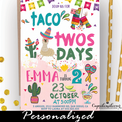 taco twosday invite girl fiesta birthday party theme