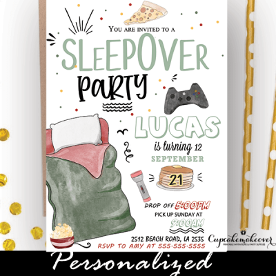 boys sleepover party invites birthday ideas