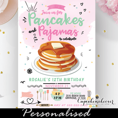 pancakes and pajamas party invitations pastel colors doodles girl slumber ideas
