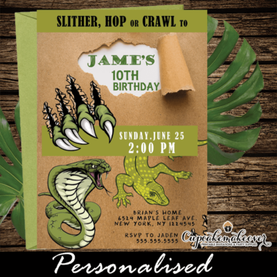 snake lizard claws tropical reptile party invites boy birthday ideas