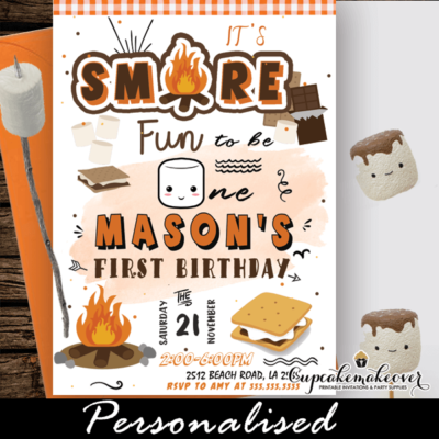 s'mores party backyard bonfire invites outdoor birthday