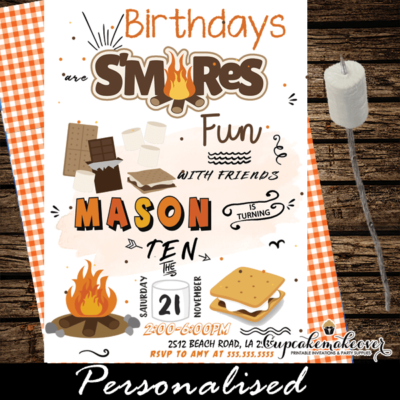 s'mores party bonfire birthday invitations backyard campout