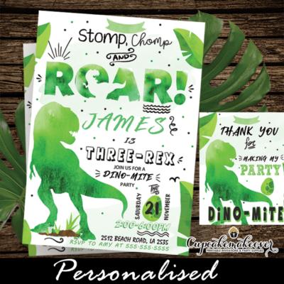 t-rex roar dinosaur birthday invites three rex party boy