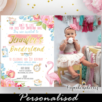 alice in onederland invitation with photo pink blue first birthday party