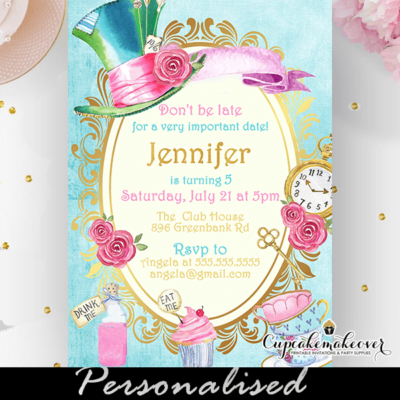 alice in wonderland invitation vintage blue unbirthday party sweet 16