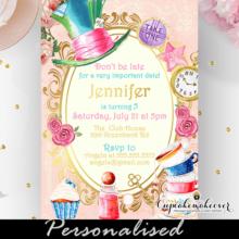 alice in wonderland invitation vintage pink gold unbirthday party sweet 16