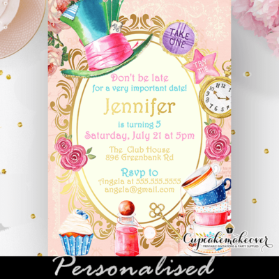 alice in wonderland invitation vintage pink gold unbirthday party sweet 16