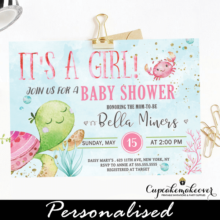 ocean theme under the sea baby shower girl invitations