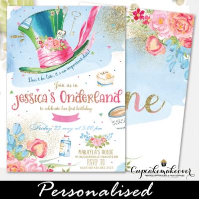 Alice In The Wonderland Invitations Onederland Theme birthday girls