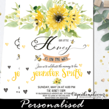 bee themed baby shower invitations sunflower bouquet