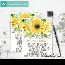 bee themed book request cards sunflower bouquet