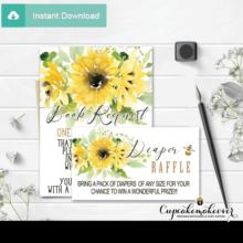 bee themed diaper raffle tickets sunflower bouquet