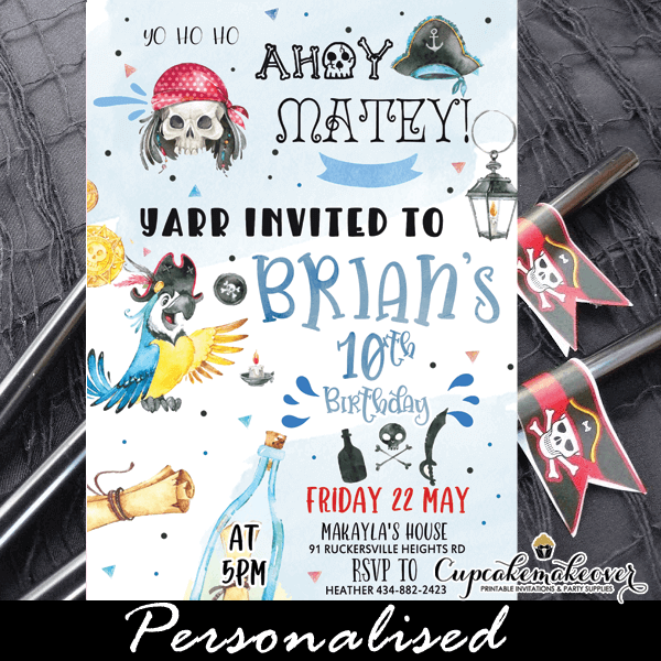 blue parrot pirate birthday invitations jolly rogers fun boy party ideas
