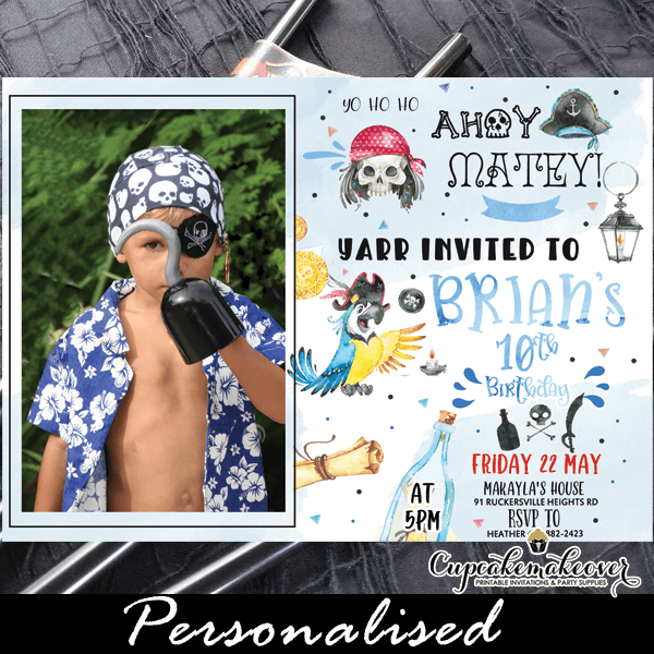 blue parrot pirate birthday photo invitations boy party ideas