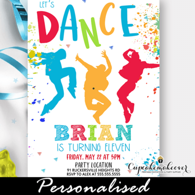 Color Splash Flexing Kids Dance Birthday Party Invitation boys