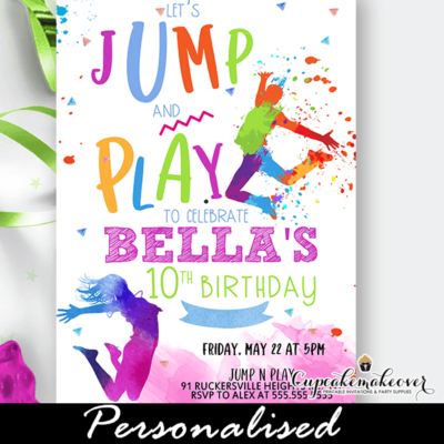 Color Splash Girls Jump Play Trampoline Party Invites