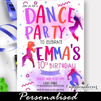 color splash hip hop breaking invite for dance party girls