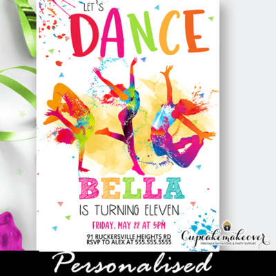 color splash hip hop street dancing invite for dance party girls