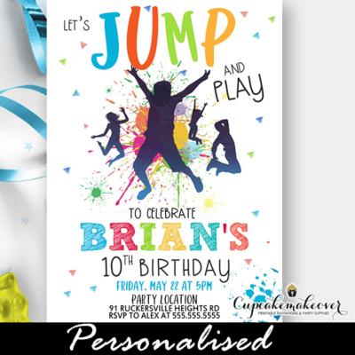 color splash trampoline gymnastics jump party invite
