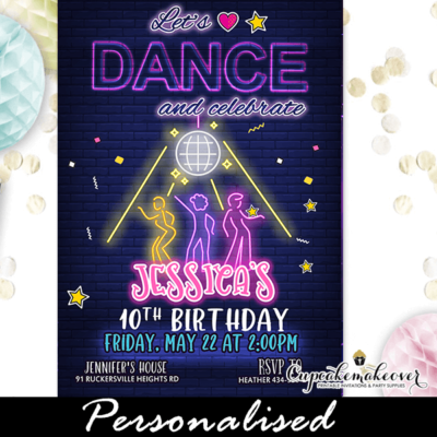 Disco Glow In The Dark Dance Party Invitation Girls