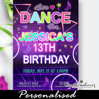 disco rainbow neon glow dance party invitations