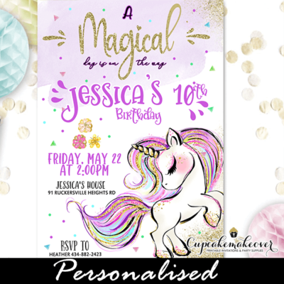 gold glitter unicorn invitations diy pastel sparkle charm ideas