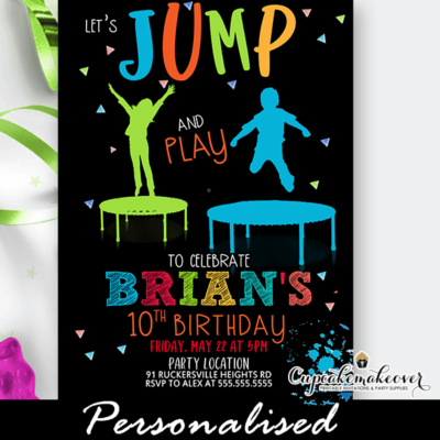 jump n play trampoline party invite boys ideas