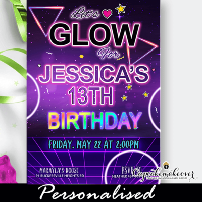 neon glow party invitation girls dance birthday ideas