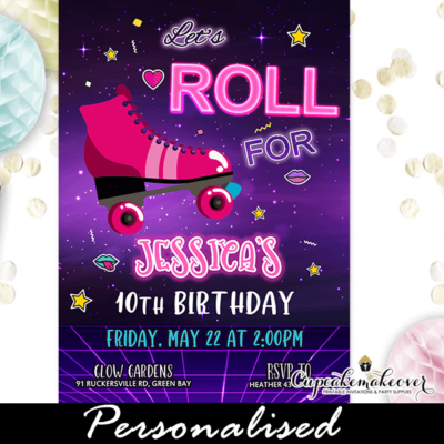 neon glow roller skating birthday invitations girls pink ideas