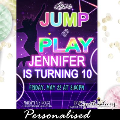 Neon Rainbow Glow Jump Party Invites Girls
