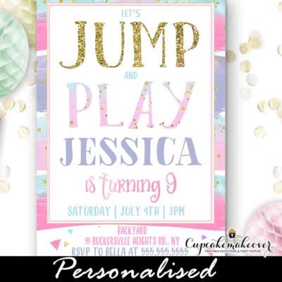 pastel rainbow jump party invitation trampoline birthday ideas