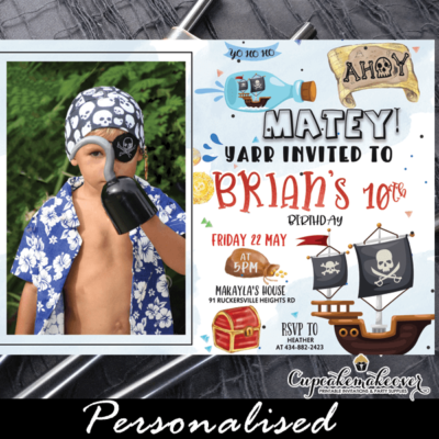 pirate birthday invitation with photo for boys treasure adventure jolly rogers