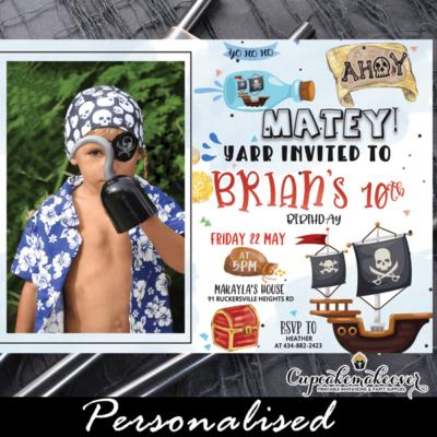 pirate birthday invitation with photo for boys treasure adventure jolly rogers