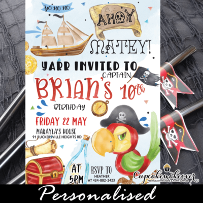 pirate birthday invitations red parrot fun party ideas kids