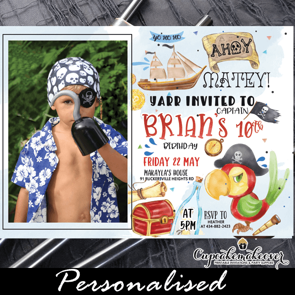 pirate birthday invitations with photo red parrot fun party ideas kids treasure adventure