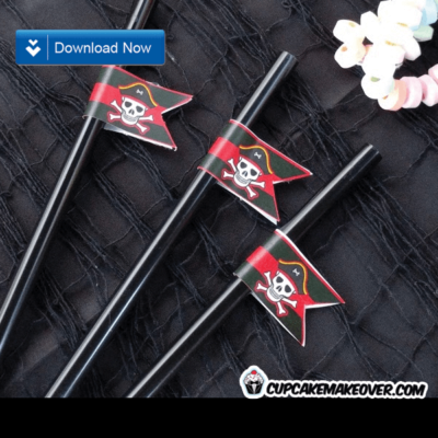 pirates straw flags party decorations printable