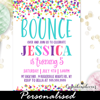 rainbow bounce birthday party invitations girl jump and play
